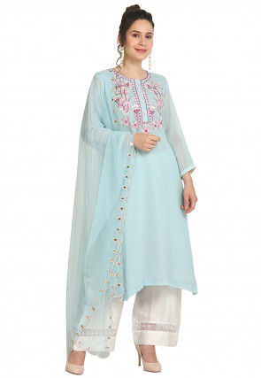 Embroidered Viscose Georgette Pakistani Suit in Sky blue