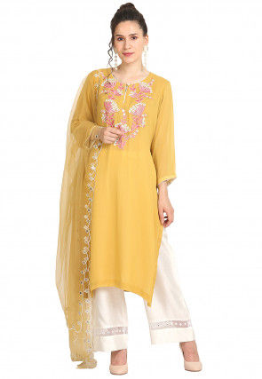 Embroidered Viscose Georgette Pakistani Suit in Yellow