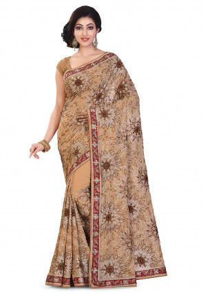 Embroidered Viscose Georgette Saree in Beige