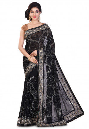Embroidered Viscose Georgette Saree in Black