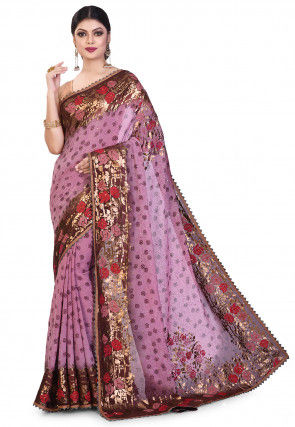 Embroidered Viscose Georgette Saree in Dusty Purple