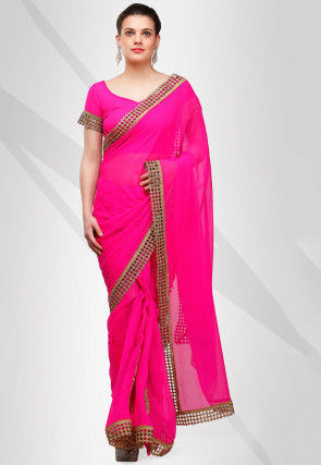 Embroidered Viscose Georgette Saree in Fushia
