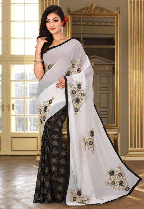 Embroidered Viscose Georgette Saree in Off White and Black