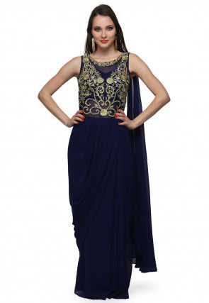Embroidered Viscose Georgette Saree Style Gown in Navy Blue