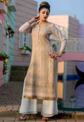 Embroidered Viscose Georgette Straight Kurta in Off White