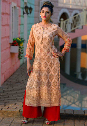 Embroidered Viscose Georgette Straight Kurta in Peach