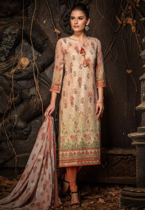Embroidered Viscose Georgette Straight Suit in Beige