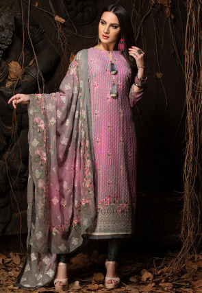 Embroidered Viscose Georgette Straight Suit in Pink
