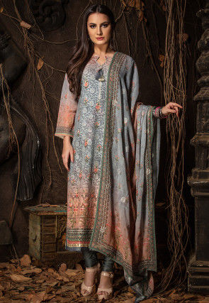 Embroidered Viscose Georgette Straight Suit in Shaded Grey and Peach