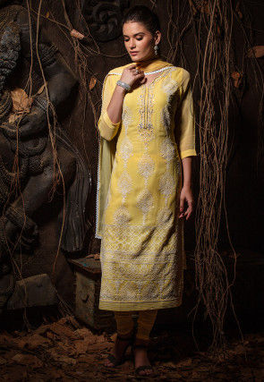 Embroidered Viscose Georgette Straight Suit in Yellow