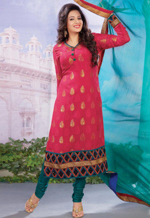 Embroidered Viscose Jacquard Straight Suit in Pink