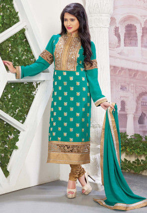 Embroidered Viscose Jacquard Straight Suit in Teal Blue