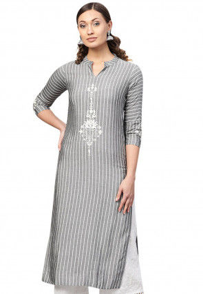 Embroidered Viscose Kurta in Grey