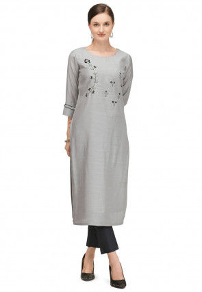 Embroidered Viscose Kurta with Pant in Grey