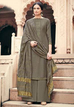Embroidered Viscose Muslin Pakistani Suit in Dark Grey