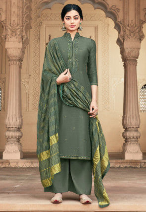 Embroidered Viscose Muslin Pakistani Suit in Dusty Green