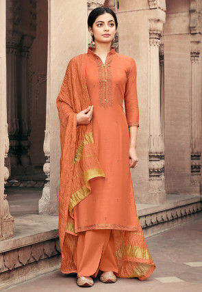 Embroidered Viscose Muslin Pakistani Suit in Orange