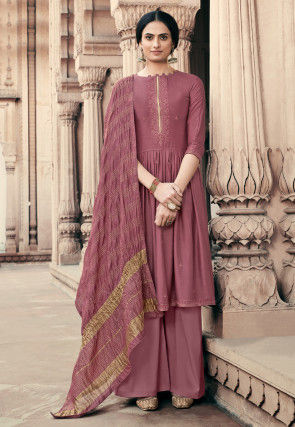 Embroidered Viscose Muslin Pakistani Suit in Pink