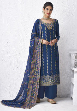 Embroidered Viscose Pakistani Suit in Blue