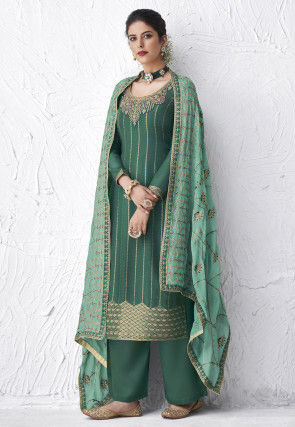 Embroidered Viscose Pakistani Suit in Dusty Green