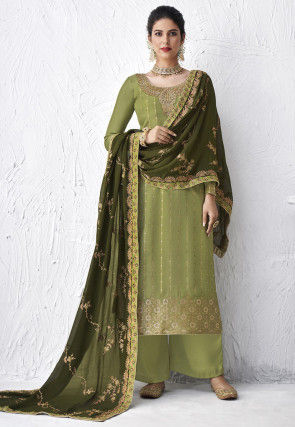 Embroidered Viscose Pakistani Suit in Light Green