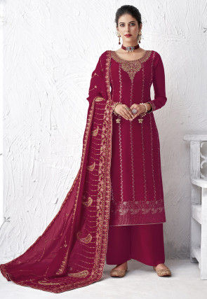Embroidered Viscose Pakistani Suit in Magenta