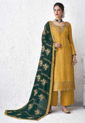 Embroidered Viscose Pakistani Suit in Mustard