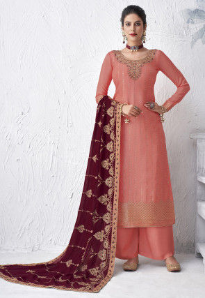 Embroidered Viscose Pakistani Suit in Peach