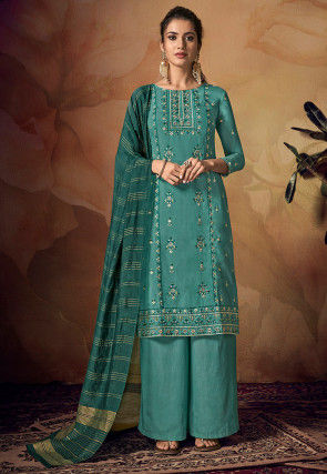 Embroidered Viscose Pakistani Suit in Teal Blue