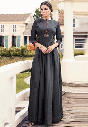 Embroidered Viscose Pleated Gown in Dark Grey