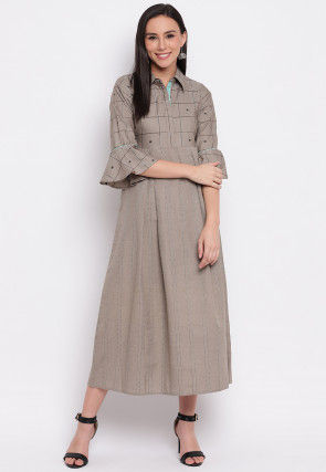 Embroidered Viscose Rayon A Line Kurta in Light Fawn