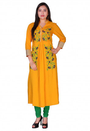 Embroidered Viscose Rayon A Line Kurta in Mustard