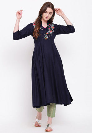 Embroidered Viscose Rayon A Line Kurta in Navy Blue