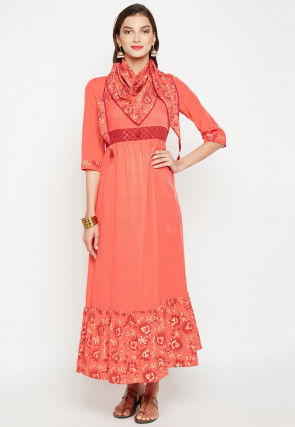 Block Printed Viscose Rayon Gown in Dark Peach