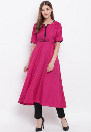 Embroidered Viscose Rayon A Line Kurta in Pink