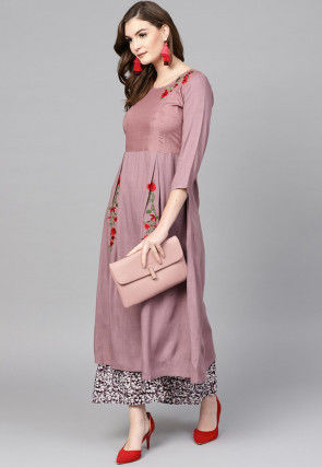Embroidered Viscose Rayon A Line Kurta Set in Old Rose