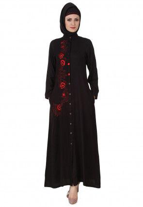 Embroidered Viscose Rayon Abaya in Black