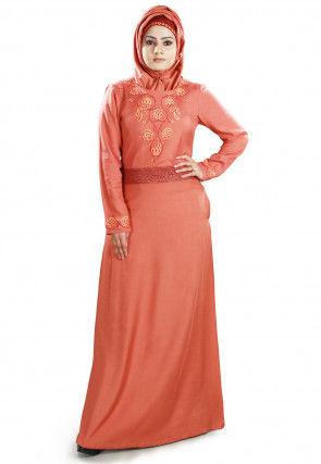 Embroidered Viscose Rayon Abaya in Pastel Orange