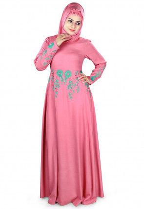 Embroidered Viscose Rayon Abaya in Pink