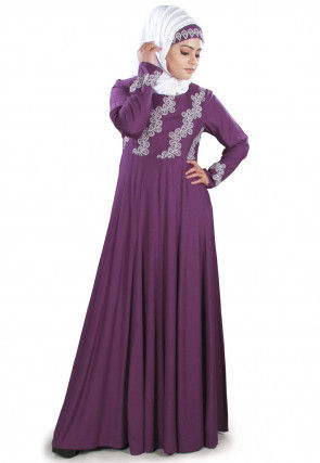 Embroidered Viscose Rayon Abaya in Purple