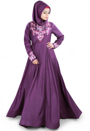 Embroidered Viscose Rayon Abaya in Violet