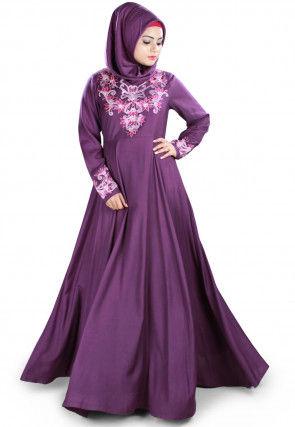 Embroidered Viscose Rayon Abaya in Violet