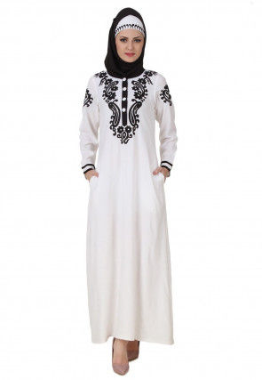 Embroidered Viscose Rayon Abaya in White