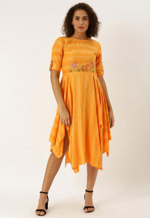 Embroidered Viscose Rayon Asymmetric Dress in Orange