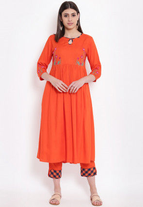 Embroidered Viscose Rayon Flared Kurta Set in Orange