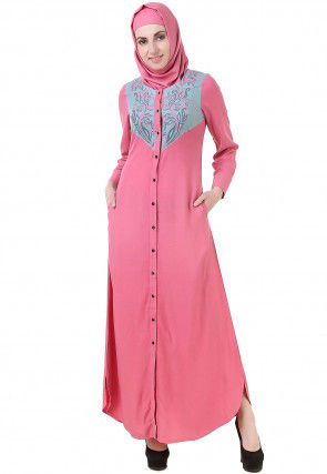 Embroidered Viscose Rayon Front Open Abaya in Pink