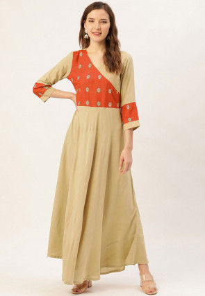 Embroidered Viscose Rayon Long Kurta in Beige