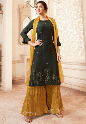 Embroidered Viscose Rayon Pakistani Suit in Dark Olive Green