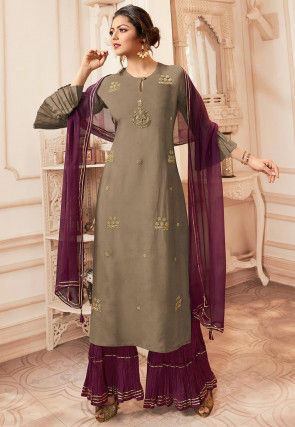 Embroidered Viscose Rayon Pakistani Suit in Grey
