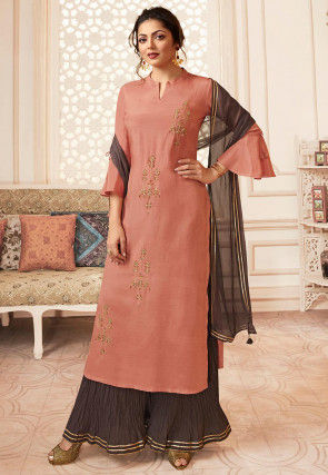 Embroidered Viscose Rayon Pakistani Suit in Peach